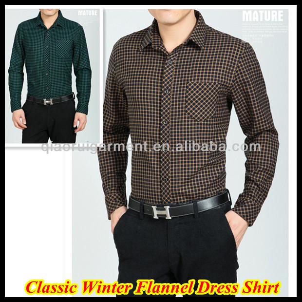 ff8611e9b Para hombre de alta calidad 100% de franela de algodón compruebe camisa  casual de negocios