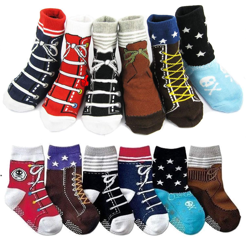 6 Pairs Baby Non Skid Shoe Socks Toddler Anti Slip Grip Cotton Crew Sock,12-24 Months
