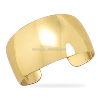 Stainless Steel Fashion Cuff Bangle Gold, 14 Karat Gold Plated Brass Graduated Domed Fashion Cuff Bracelet