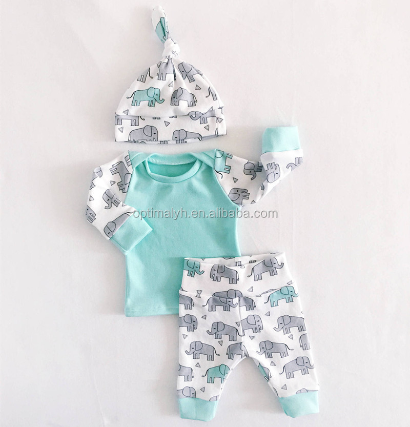 Newborn Baby set 3pcs Boy Girl Clothes Long Sleeve cartoon elephant Outfits