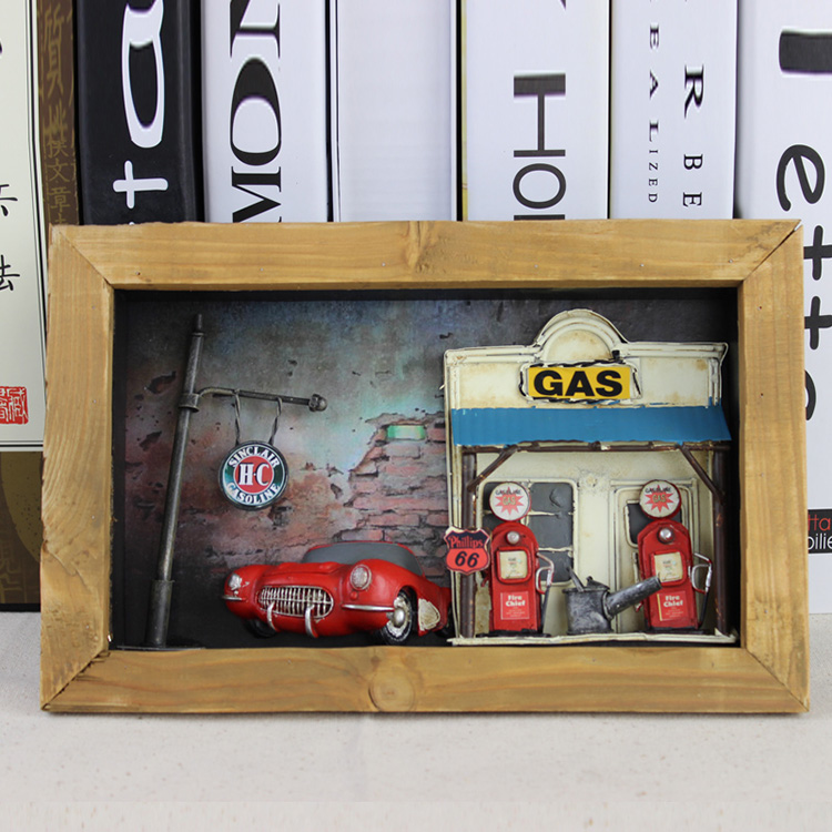 Creative Shadow Box Wood Metal Wall Decoration Living Room Figurines Desktop Crafts Home Shop Decor Gifts