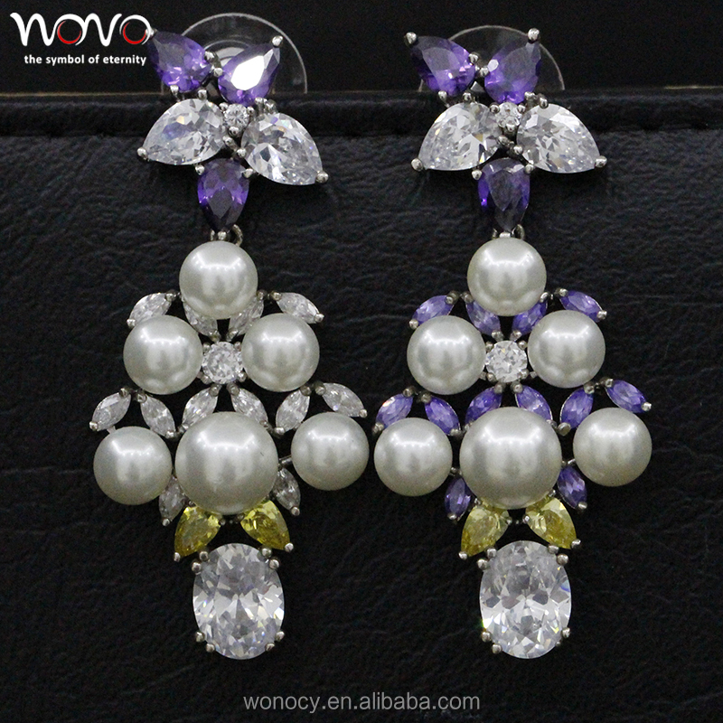 fashion high quality italian jewelry silver hanging diamond flower pearl earring
