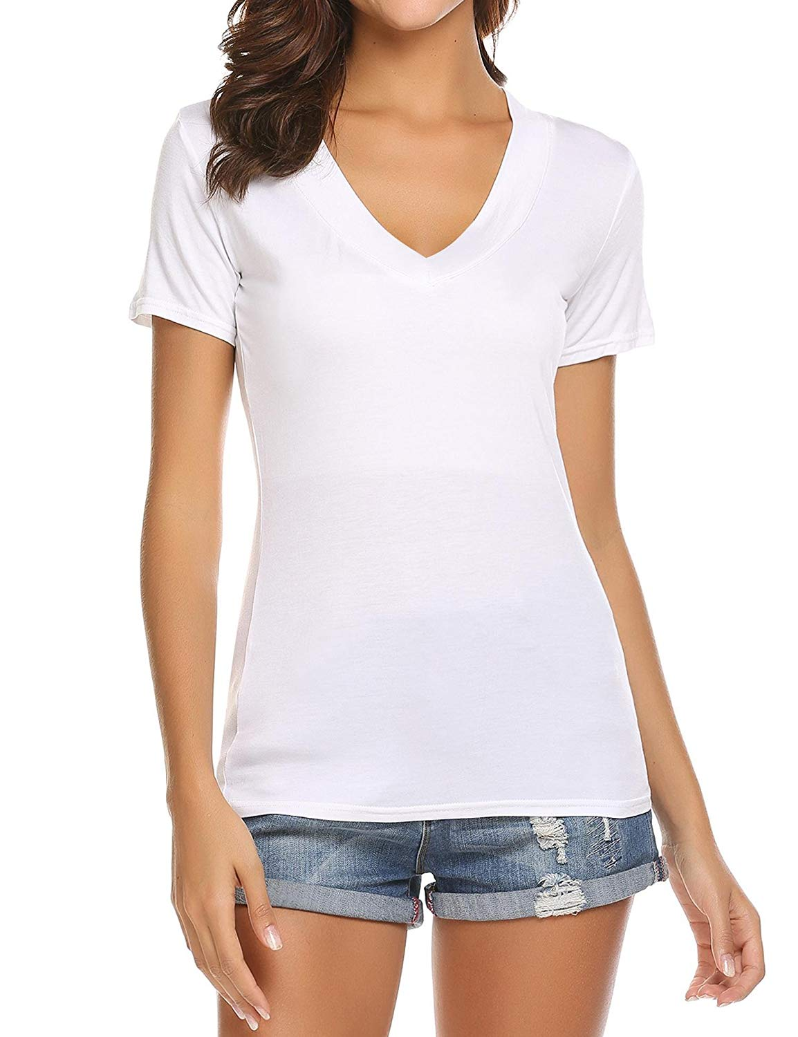Buy sexy women casual solid color deep v neck low cut short sleeve tee top