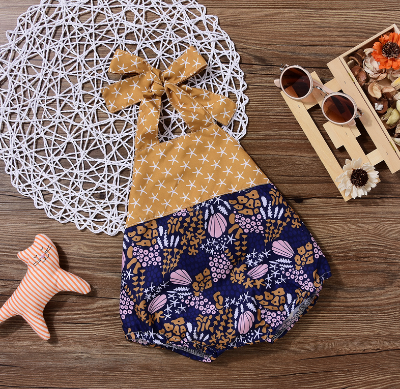 396a59c7c95 Baby Girl Sea Topic Starfish Shell Seaweed Pattern Summer Backless Halter  Romper