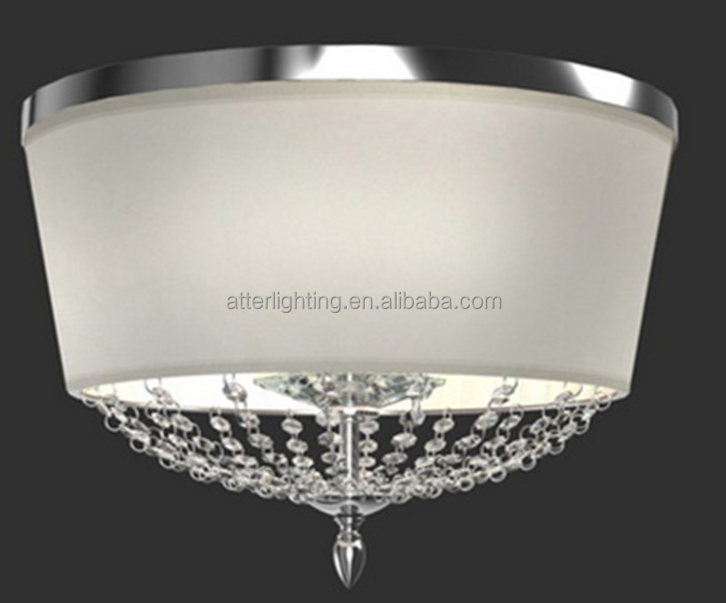 Hot Sale Polished Chrome Ceiling Lamp White Fabric Shade