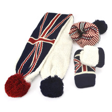 2-6 Years Old Baby Kid Boy Girl Winter Knitted Hat Scarf Gloves 3Pieces Set with US Star UK