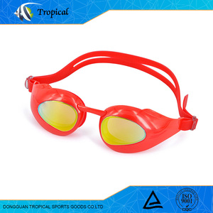 2017 new style waterproof factory colorful promotional customized orange swim goggles for asian