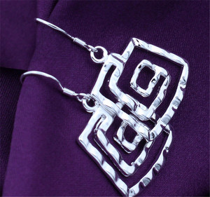 Wholesale silver plated Earring,925 jewelry silver,Square thread Earrings