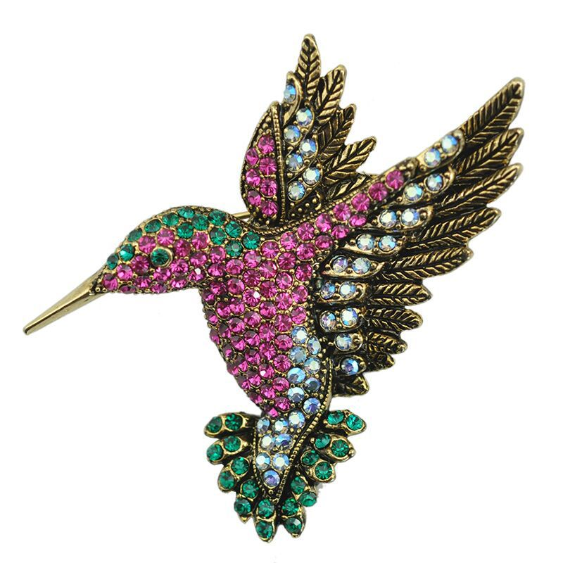 2017 YIWU 2017 animal brooches for women Korea fashion accessories wholesale woodpecker antique gold rhinestone brooch