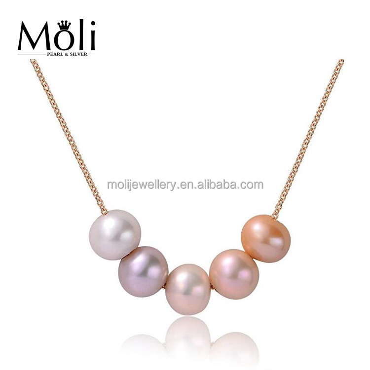 Hot Sale 925 Sterling <strong>Silver</strong> Near Round Pink Purple Freshwater Five Pearls Pendant Charm Necklace