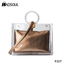 2 Pcs Per Set Women Summer Transparent Plastic Beach Tote Bag
