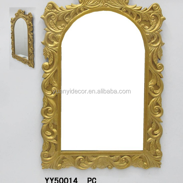 golden resin framed wall decorative mirror resin design wall mirror for home decors - Decorative Mirror Manufacturers