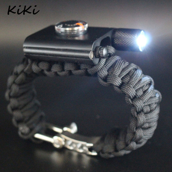 >>> Fashion Klimmen emergency outdoor multifunctionele Paracord Paraplu Touw Kompas Buiten Survival Armband met LED Licht