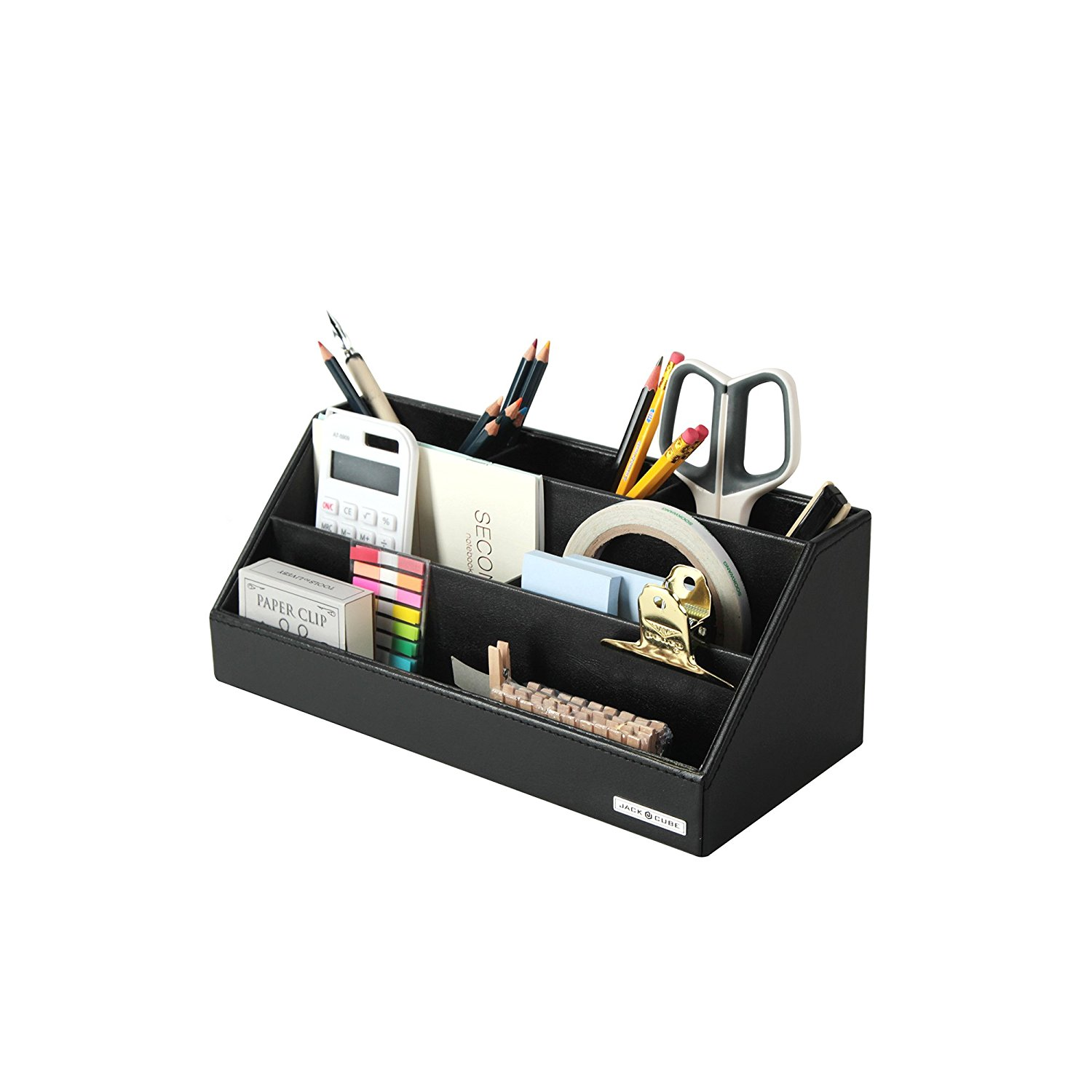 JackCubeDesign Leather Remote Control Office Desk Stationery Organizer Supplies Storage Box Case Caddy Tray Cosmetic Display Organizer Holder Phone Stand(Black, 11.8 x 5.3 x 4.7 inches)-:MK279A