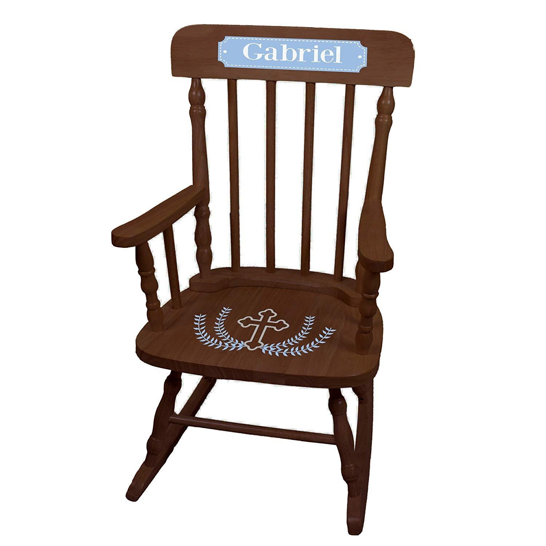 MyBambino Personalized Cross Garland Light blue Espresso Childrens Rocking Chair