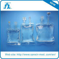 CE ISO two tube 250ml IV infusion bags with stopper