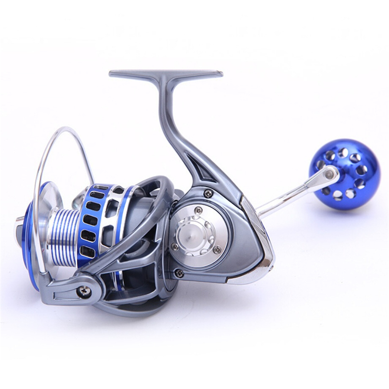 MX7000 4.7:1 12+1 Bearings Aluminum Handle CNC Spool Front 30kg Drag Left Right Hand Saltwater Freshwater Spinning Fishing Reels, Gray with blue