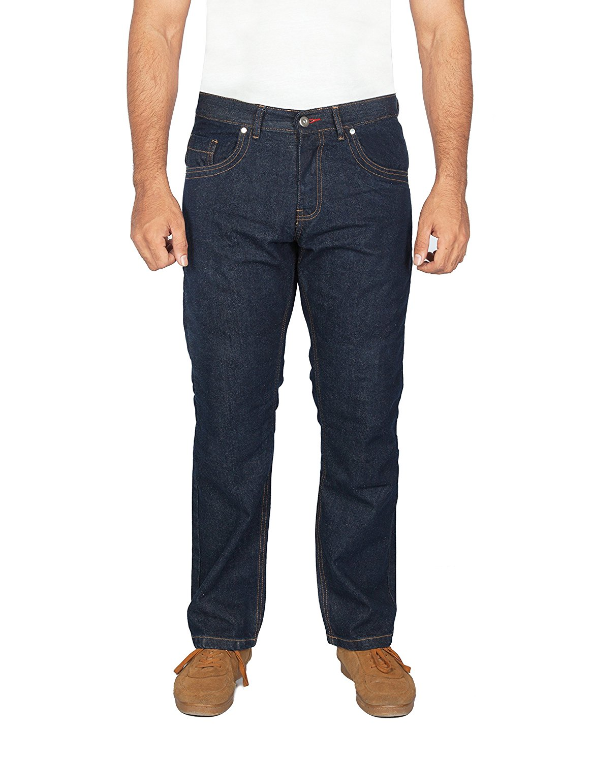 OneDayMore Straight Fit Aramid Reinforced Motorcycle Straight Fit Jeans, Blue, Free Protectors. 8002
