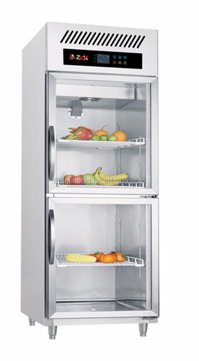 Upright Freezer With Glass Doorsdouble Door Display Refrigerator
