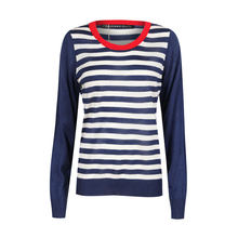 HDY Haoduoyi, полосатая футболка с круглым вырезом, узкая, синяя и белая, повседневные, Осенние Топы для женщин, новинка 2020, консервативный стиль(Китай)