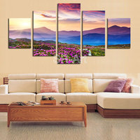 Mountains in Sunrise 5 Panels Modern Stretched and Framed Giclee Canvas Prints Artwork Landscape Pictures Paintings on Canvas