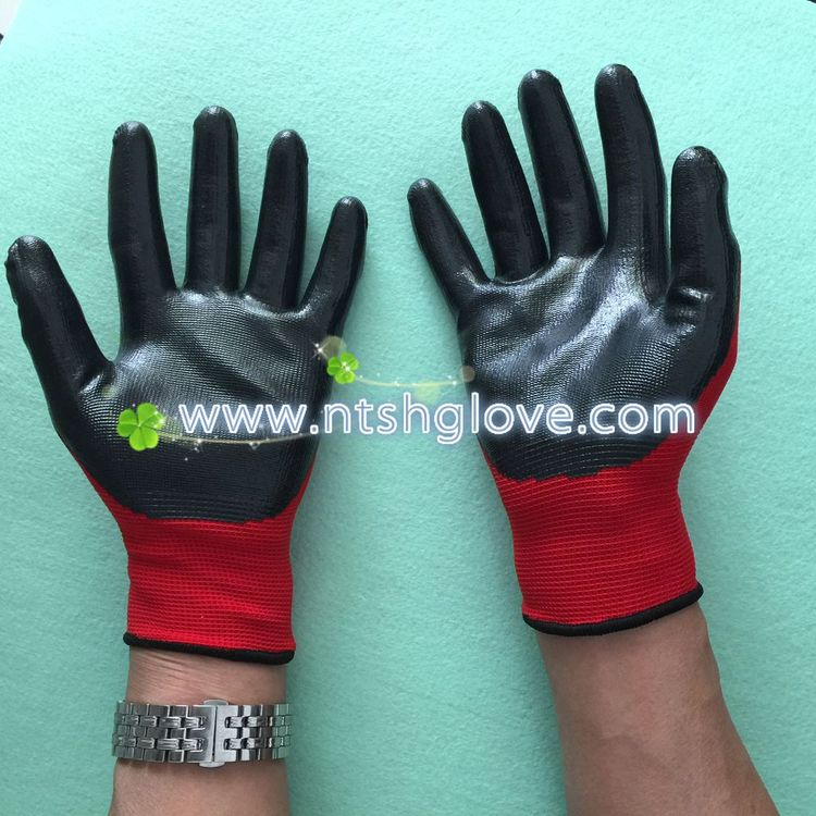 Contemporary anti oil coated nitrile glove