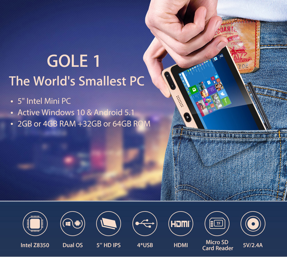 HIGOLE GOLE1 5 Inch Mini PC Intel Cherry Trail Z8300 Quad-Core Windows10 / Android 5.1 Bluetooth 2.4GHz / 5GHz Dual-Band WiFi