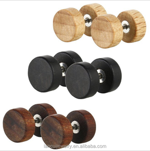 Cool Wooden Barbell Men Stud Earrings, Custom Welcomed Jewelry For Men