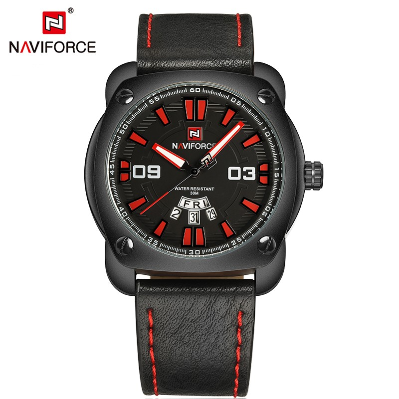 NAVIFORCE brand men NF 9096 men quartz watch fashion sport watch coffee leather 30M waterproof auto date wristwatches relogio фото