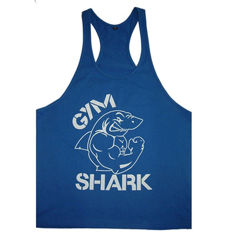 S&H 2015 New Gym Shark Stringer Tank Top Men Gymshark Bodybuilding and Fitness Men's Singlets Gym Tank Shirts Sports Clothes