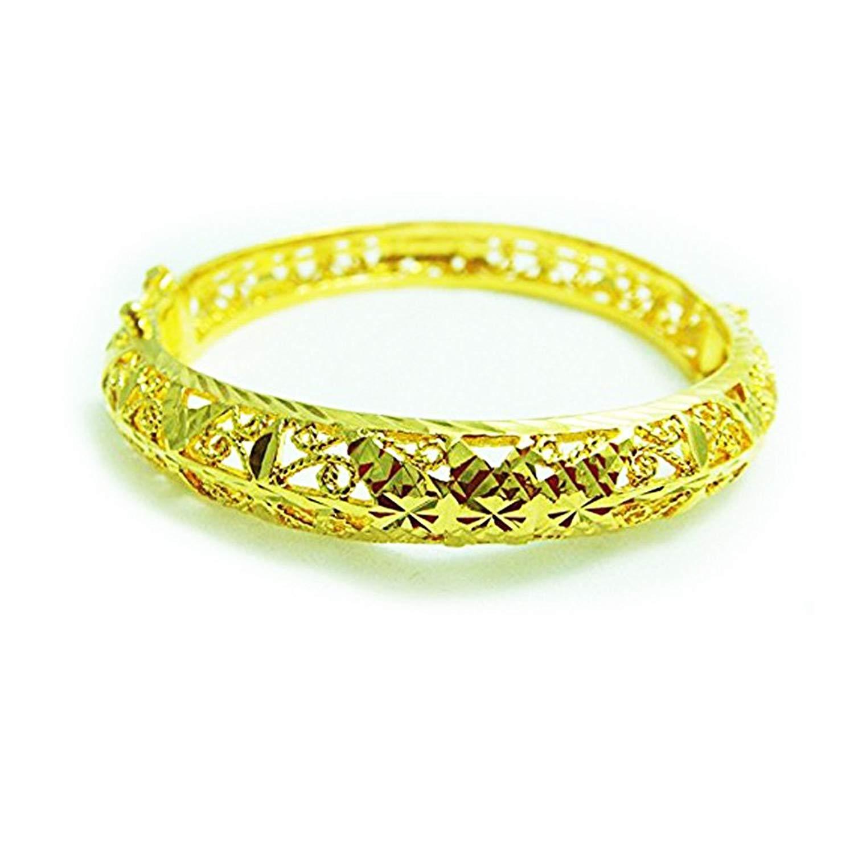 22k 23k 24k Thai Style Thai Baht Yellow Gold Plated Filled Bangle Bracelet