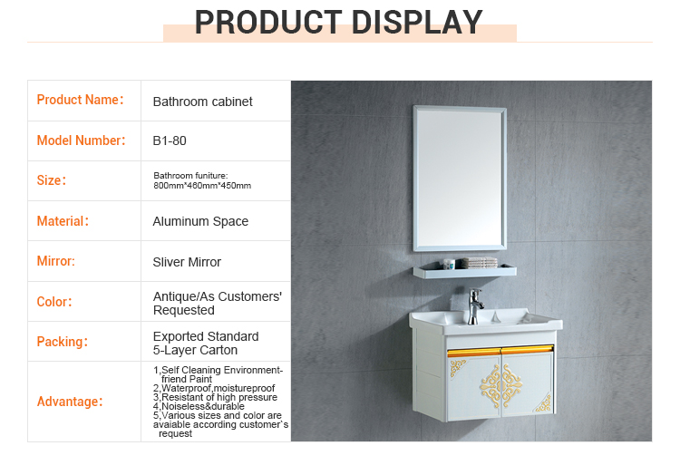 Wholesale wall-mounted mirror classic aluminum sanitary wall hanging furniture hotel bathroom cabinet
