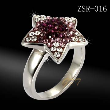 Hot sale stainless steel fashion brown and diamond ring