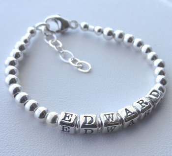 Personalized Solid Metal Beads Alphabet Name Children Boys Fashion Hand Bead Bangles And Bracelets