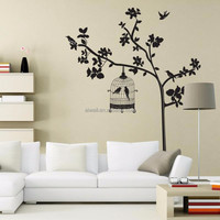 AY9047 Black Birdcage Wall Decals BirdsTree Removable Wall Sticker Home Decor Amimal/Plant Vinyl Decals Art