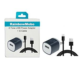 RainbowMOBO (TM) AC Power Travel Wall Adapter + 3 Feet 8-pin to USB 2.0 Charging + Data Sync Cable Cord for iPhone 5 / 5S / 5C / iPad 4 & mini & iPod Touch 7th (Rainbow Black)