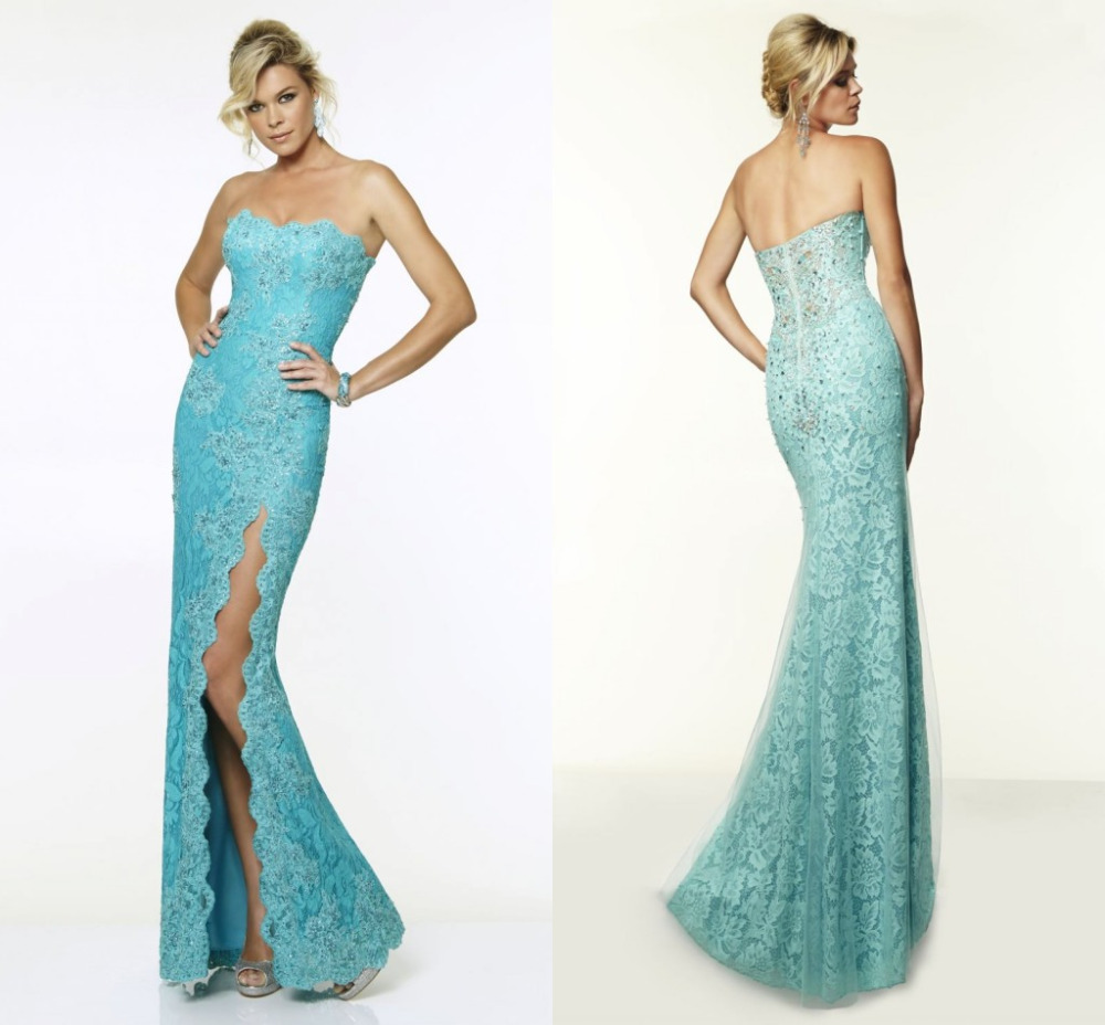 cec5b733d9 Get Quotations · 2015 New Mint Green Beaded Lace Mermaid Dresses For  Evening Strapless High Slit Long Sexy Women