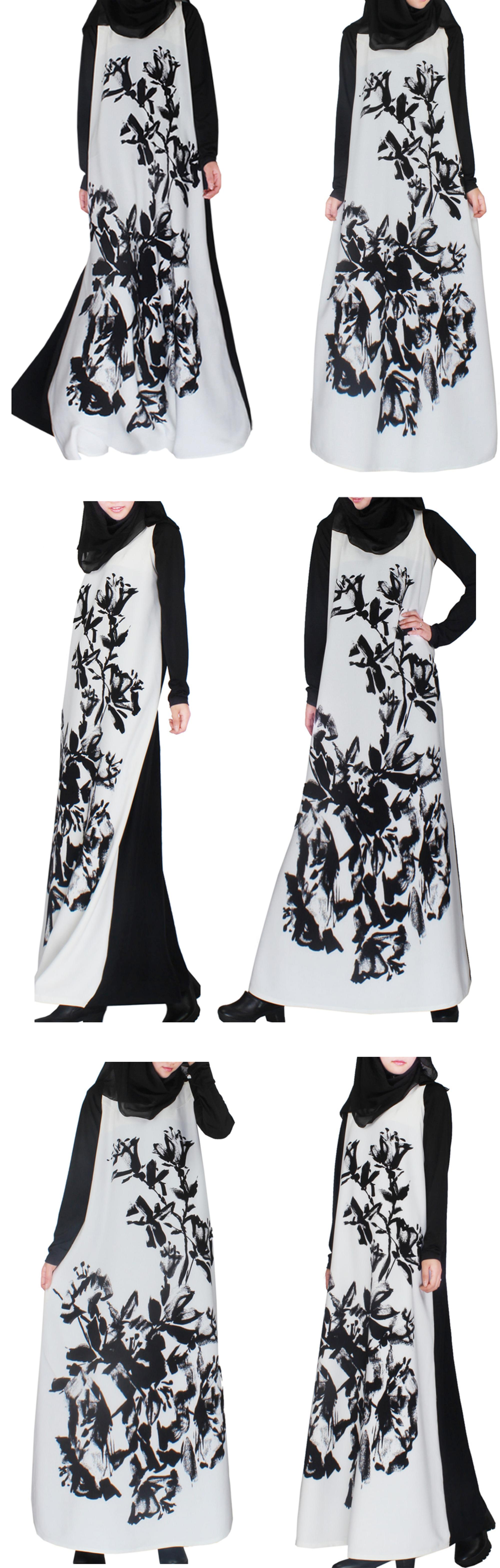 2018 Make to order traditional ink printing long sleeve muslim abaya wholesale women long dress islamic clothing for women