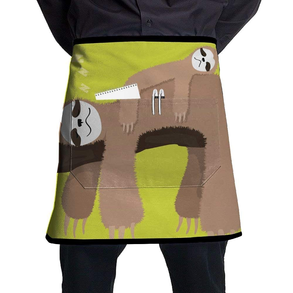 Aprons, Mens Waist Apron With Pocket, Cobbler Apron For Women, Kitchen Accessories, Cute Funny Sloth Sleeping In Tree