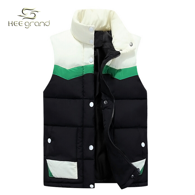 Patchwork Fashion Men's Vest 2015 Winter Warm Vest Men Slim Sleeveless Jacket Leather Outwears Men Winter Vest Outdoor MWB130