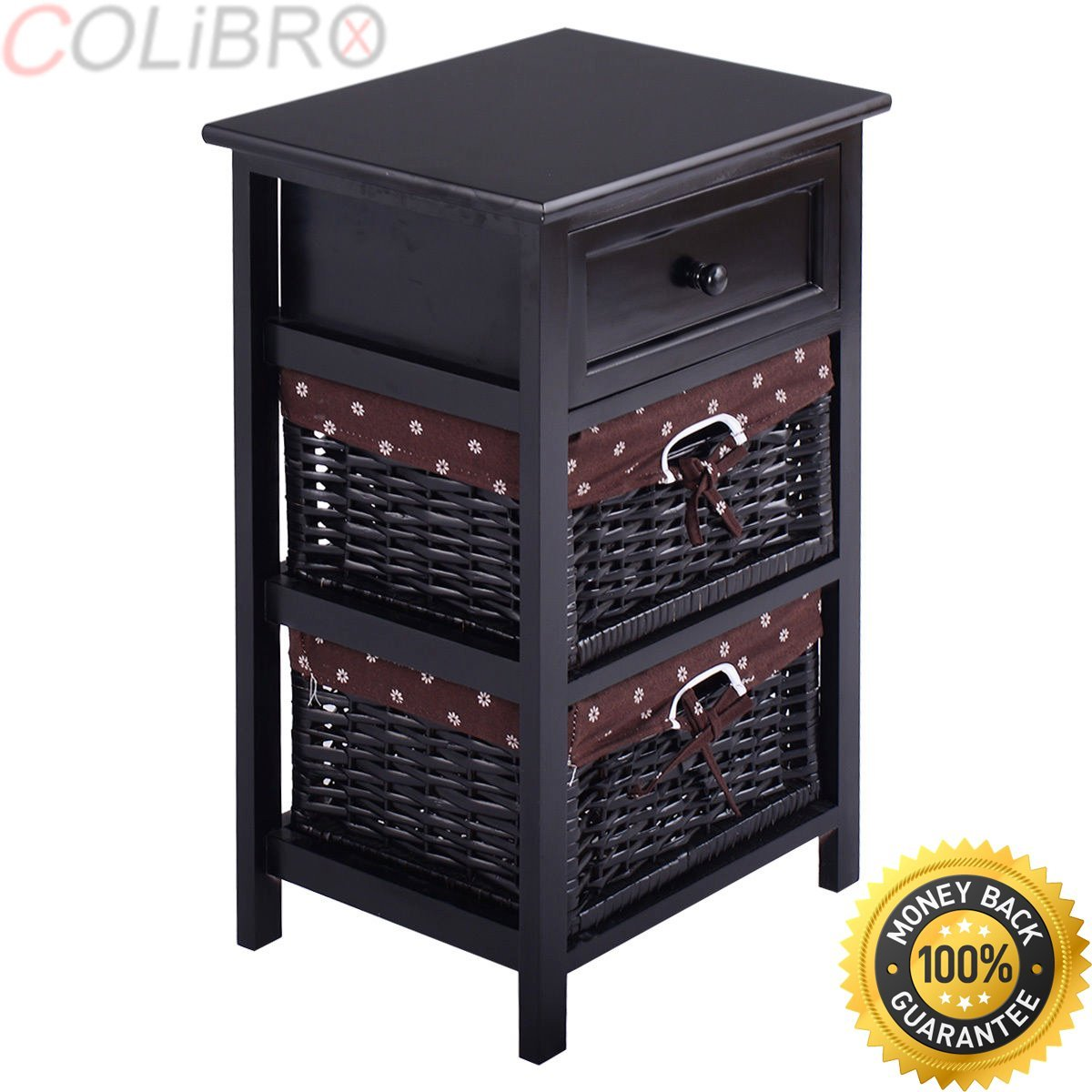 COLIBROX--Set OF 2 Night Stand 3 Tier 1 Drawer Bedside End Table Organizer Wood W/2 Basket. amazon night stand 3 layer 1 drawer bedside end table. 1 drawer bedside end table organizer bedroom wood.