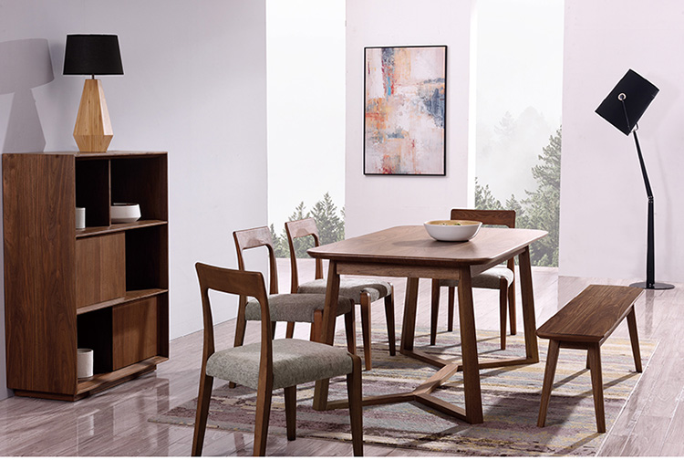 Glass top wood turntable modern dining table set for home use