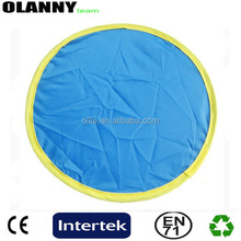 bottom price fold China supplier blue round fan nylon frisbee