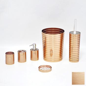 strepen design bruin koper ronde vormige badkamer accessoires set