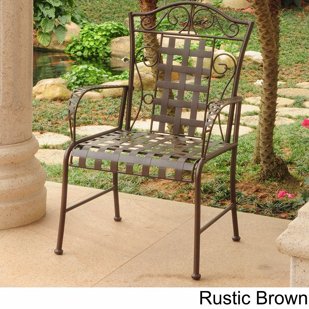 Get Quotations · International Caravan Iron Lattice Lawn Chairs (Set Of 2)  Rustic Brown