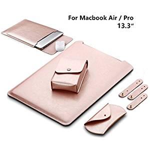 LAPOND Waterproof Sleek Leather MacBook Air Sleeve 13 Inch , Soft Sleeve Case Cover Bag for MacBook Air & MacBook Pro 13.3-inch (Rose Gold)