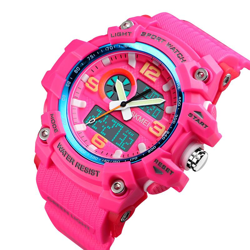 Analog digital watch skmei new 5ATM waterproof fashion sports wristwatches for women фото