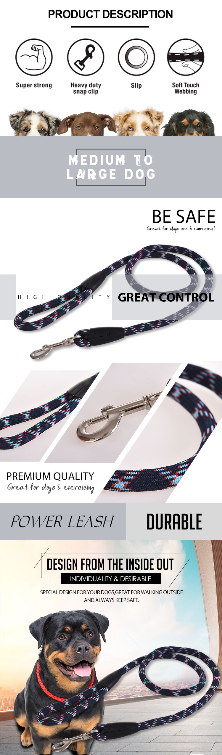 2019 Newest Nylon Pet Rope Dog Leash