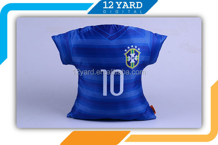 Brasil cushion pillow, Jersey shaped printable heated pillow cases sublimation case