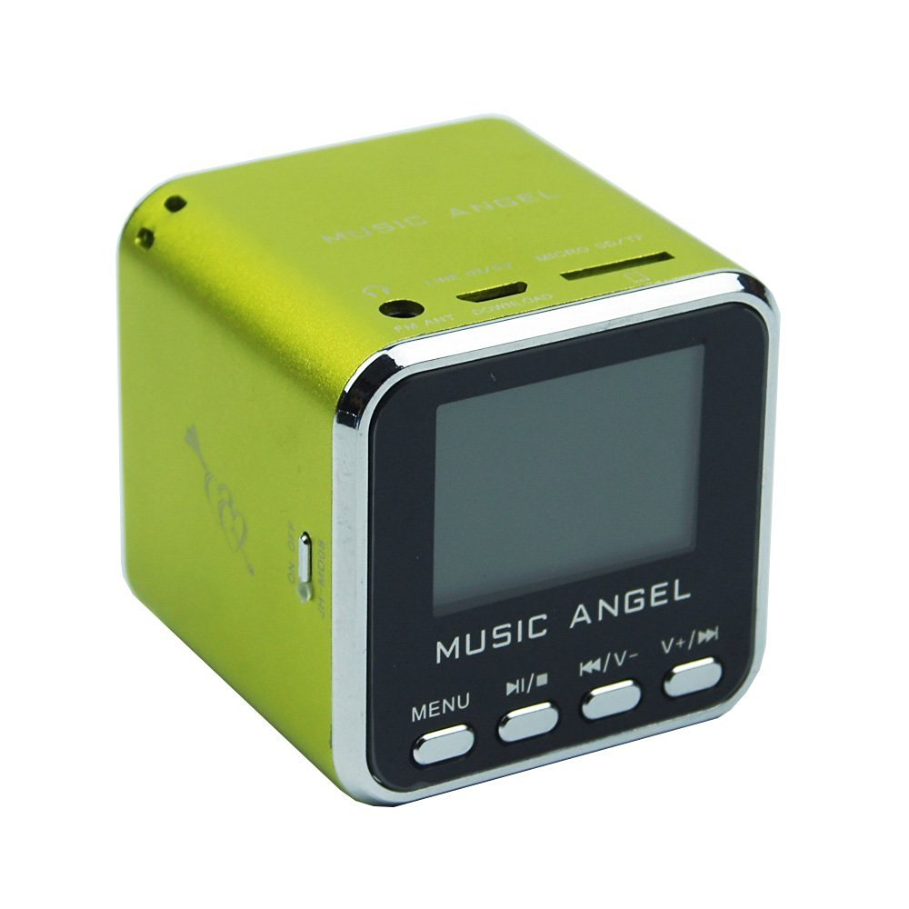 Original Music Angel Portable Mini Digital Speaker LCD Screen with FM Radio/Micro SD/TF Card /USB Disk/ Alarm Clock Multi-Language Function (Green)